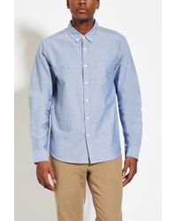 Forever 21 | Blue Buttoned-collar Cotton Shirt for Men | Lyst