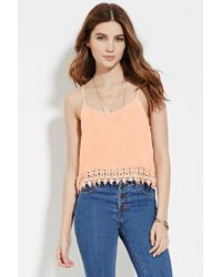 Forever 21 | Natural Crochet-trimmed Cami | Lyst