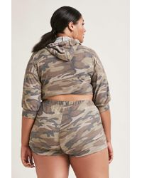 Forever 21 - Multicolor Plus Size Slashed Camo Hoodie - Lyst