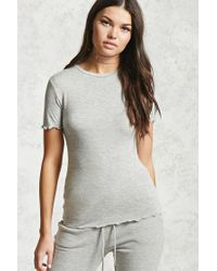 Forever 21   Gray Heathered Knit Ruffle Tee   Lyst