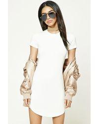 Forever 21 | White Curved Hem T-shirt Dress | Lyst