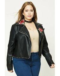 Forever 21 - Black Plus Size Floral Moto Jacket - Lyst