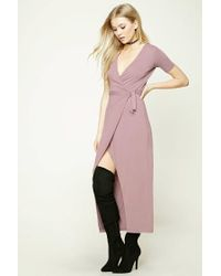 Forever 21   Pink Wrap-front Maxi Dress   Lyst