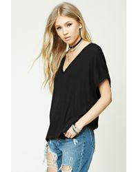 Forever 21 | Black Ribbed V-neck Top | Lyst