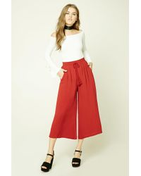 Forever 21 | Red Wide-leg Drawstring Pants | Lyst