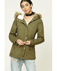 Forever 21 | Green Faux Fur-trimmed Jacket | Lyst