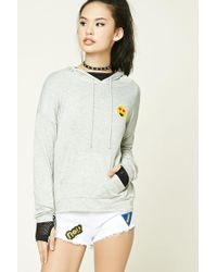 Forever 21 | Gray Heart Eyes Patch Hoodie | Lyst