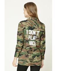 Forever 21 | Green I Dont Play Nice Camo Jacket | Lyst
