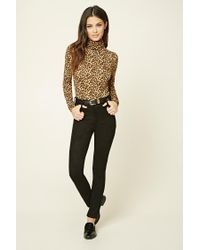 Forever 21 Multicolor Cheetah Print Turtleneck Top