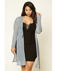Forever 21 | Blue Plus Size Open Knit Cardigan | Lyst