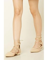 Forever 21   Natural Lace-up Faux Leather Flats   Lyst
