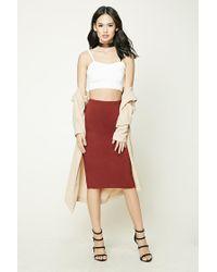 Forever 21 | Red Slub Knit Midi Pencil Skirt | Lyst