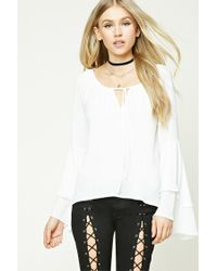 Forever 21 | White Tie-front Tiered Sleeve Top | Lyst