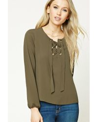 Forever 21 | Green Lace-front Top | Lyst