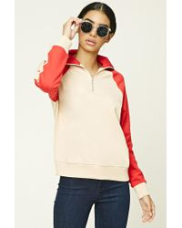 Forever 21 | Red Colorblocked Zip Pullover | Lyst