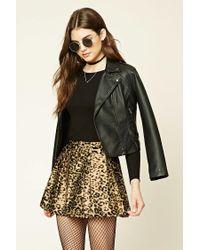 Forever 21 | Black Pleated Leopard Print Skirt | Lyst