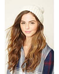 Forever 21 | Natural Cable Knit Pom-pom Beanie | Lyst