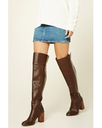 Forever 21 | Brown Faux Leather Knee-high Boots | Lyst