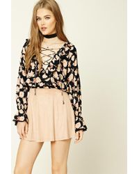 Forever 21 | Black Floral Lace-up Flounce Top | Lyst