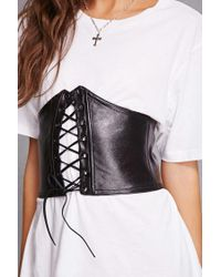 Forever 21 - Black Kikiriki Lace-up Corset Belt - Lyst