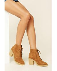Forever 21   Brown Faux Suede Ankle Booties   Lyst