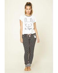 Forever 21 | White Rabbit Graphic Polka Dot Pyjama Set | Lyst