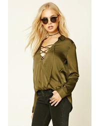 Forever 21 | Green Contemporary Satin Lace-up Top | Lyst