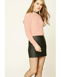 Forever 21 | Pink Fuzzy Ribbed Knit Sweater | Lyst