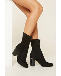 Forever 21   Black Faux Suede Ankle Booties   Lyst