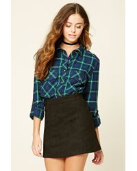 Forever 21   Green Snap-button Plaid Flannel Shirt   Lyst