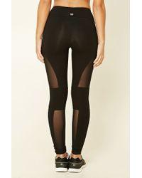 Forever 21 | Black Active Mesh-paneled Leggings | Lyst