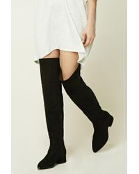 Forever 21 | Black Faux Suede Over-the-knee Boots | Lyst