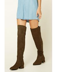 Forever 21 | Green Faux Suede Knee-high Boots | Lyst