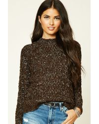 Forever 21 | Brown Marled Cable-knit Jumper | Lyst