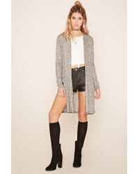 Forever 21 Multicolor Longline Ribbed Knit Cardigan