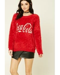 Forever 21 | Red Coca-cola Fuzzy Sweater | Lyst