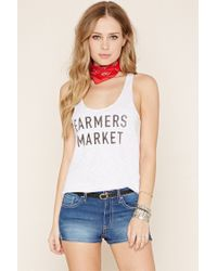 Forever 21 - White Farmers Market Graphic Tank - Lyst