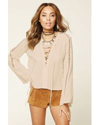 Forever 21 | Natural Bell-sleeve Lace-up Top | Lyst