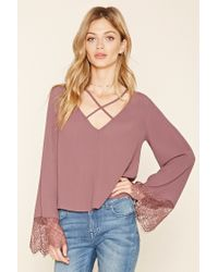 Forever 21 - Pink Strappy Bell-sleeve Blouse - Lyst