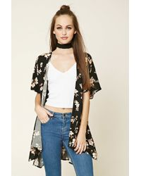 Forever 21 | Black High-low Floral Print Kimono | Lyst