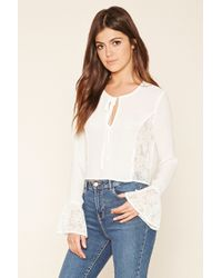 Forever 21 | White Embroidered Sheer Top | Lyst
