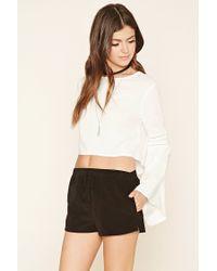 Forever 21 Black Drawstring Corduroy Shorts