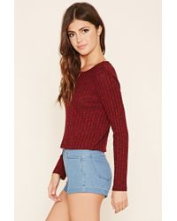 Forever 21 - Black Cropped Ribbed Knit Sweater - Lyst