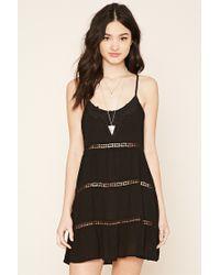 Forever 21 | Black Crochet Gauze Cami Dress | Lyst