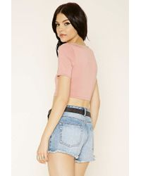 Forever 21 - Pink Cutout Crop Top - Lyst