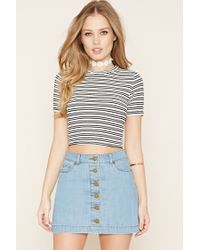 Forever 21   Multicolor Stripe Ribbed Crop Top   Lyst
