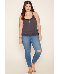 Forever 21 Black Plus Size Lace-panel Cami