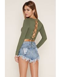 Forever 21 Green Lace-up Crop Top