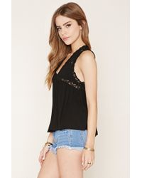 Forever 21 Black Crochet Lace Top