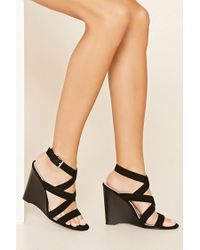 Forever 21   Black Strappy Wedge Sandals   Lyst